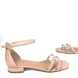 Nude Blush Pink Patent Leather Strappy Sandals 8